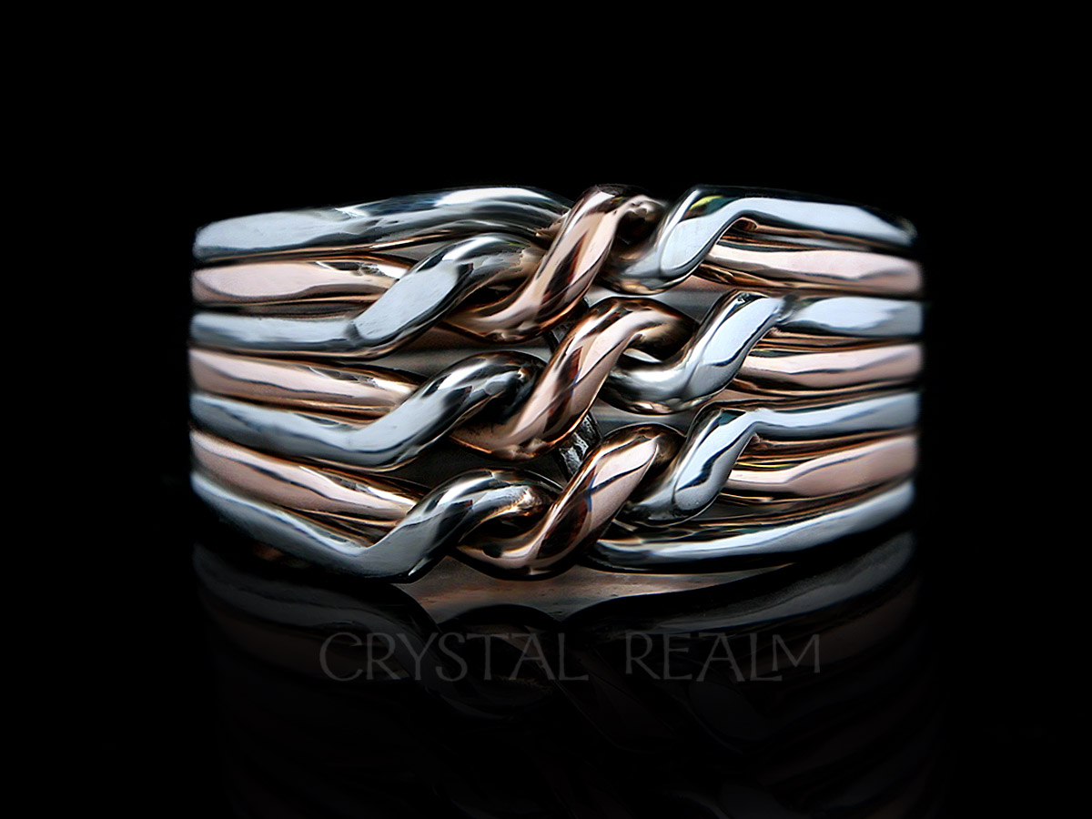 7 band puzzle ring - chain style - 14k rose gold and palladium