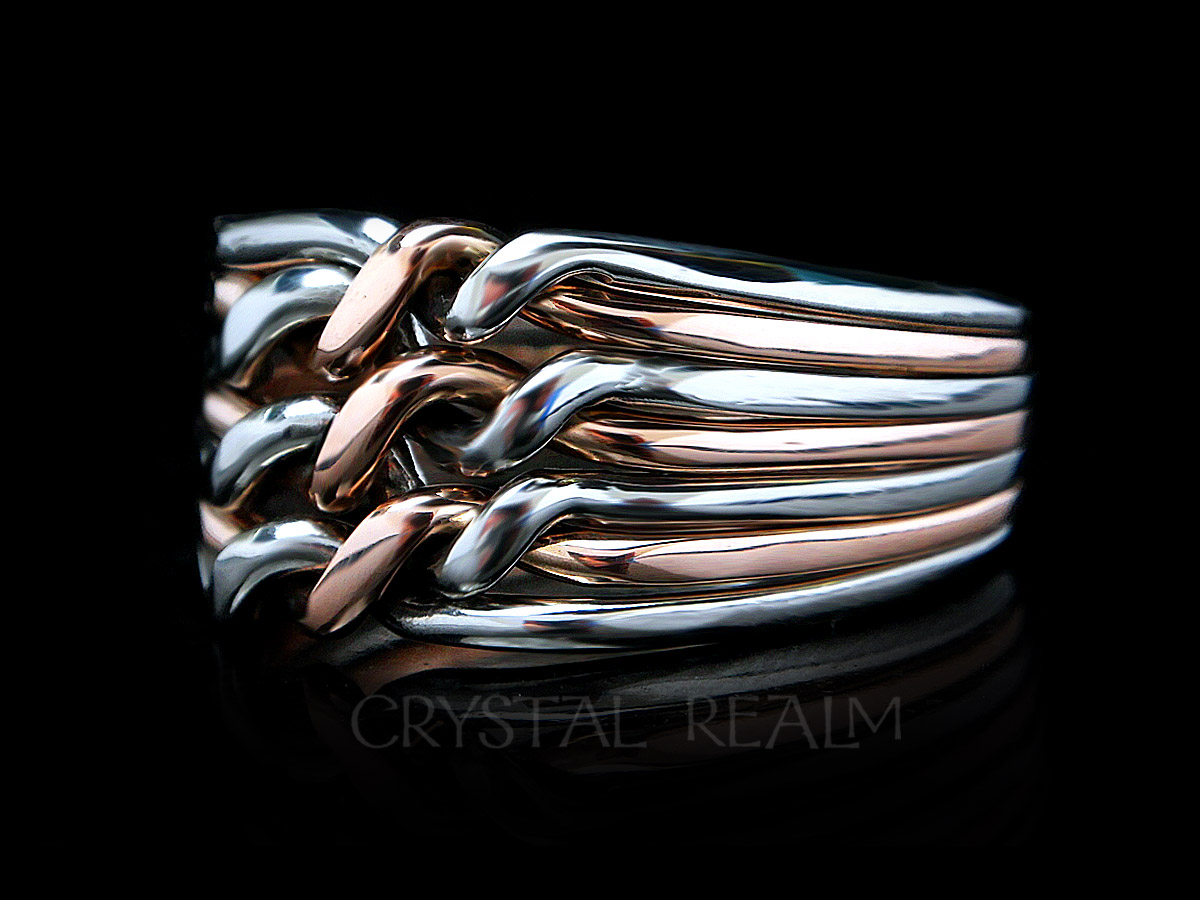 Chain style 7 band puzzle ring in palladium and 14k rose gold