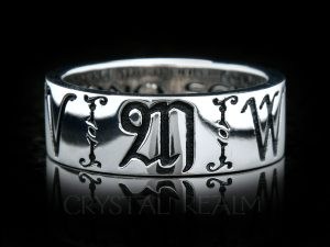 8mm wide posy ring with initials or name