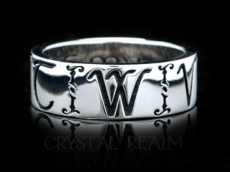 Initial or name posy ring with Russian accents