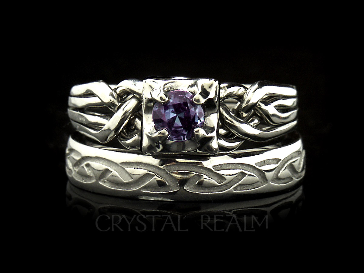 Guinevere four piece puzzle ring with round genuine alexandrite and recessed Celtic eternal knot band