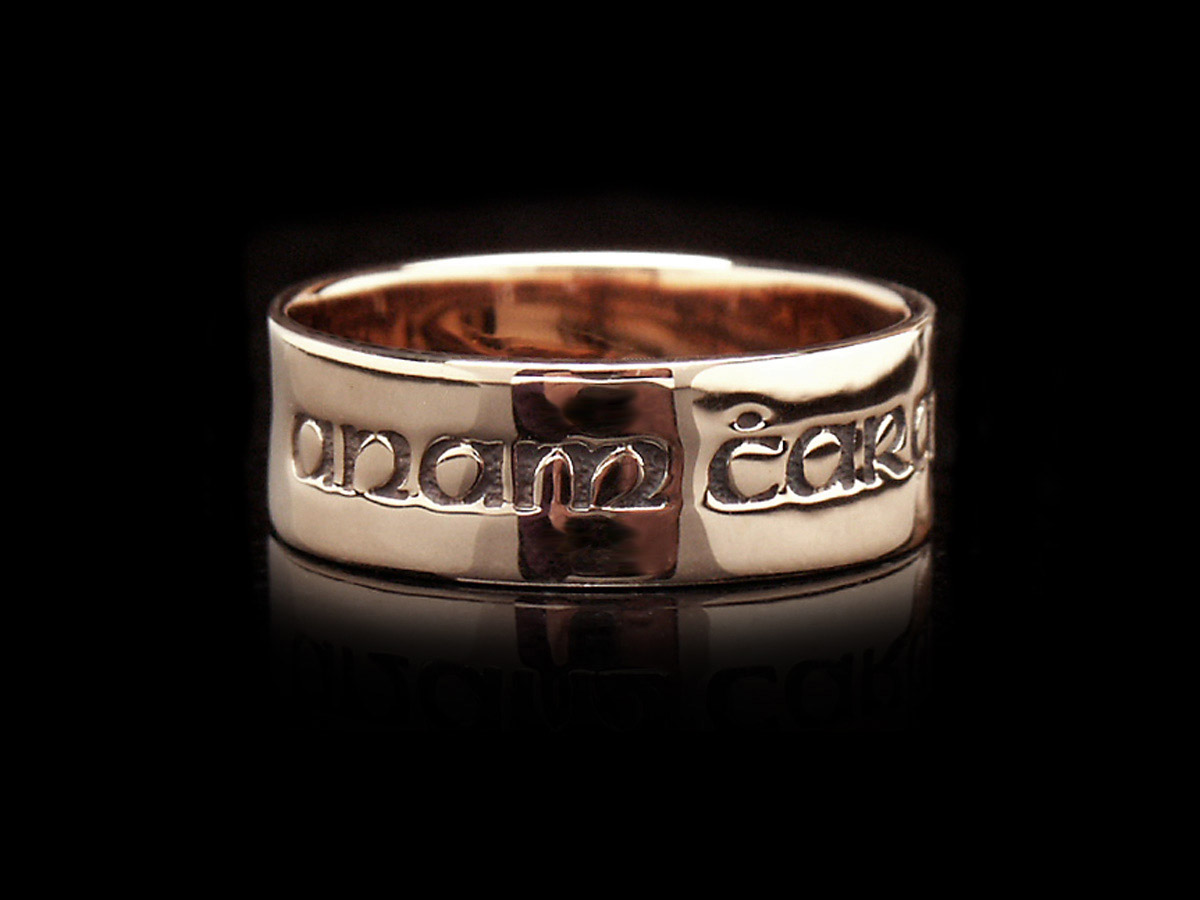 Rose gold posy ring with gaelic anam cara or soul friend