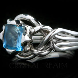 Platinum 7mm princess cut aquamarine Avalon engagement puzzle ring