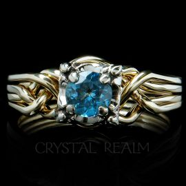 round aquamarine puzzle engagement ring