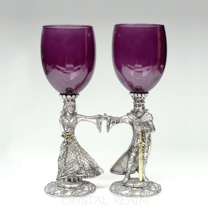 Amethyst Purple Arthur and Guinevere Toasting Glasses