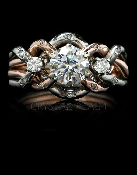 ethically sourced diamond puzzle engagement rings bridal sets - Puzzle Wedding Rings
