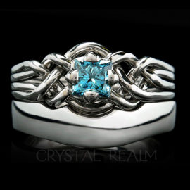 Celtic Engagement Ring - Avalon Blue Diamond Puzzle Ring with 4mm Shadow Band