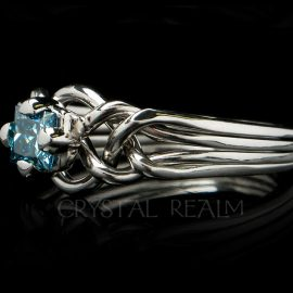 Avalon Engagement Puzzle Ring with Princess-Cut Blue Diamond