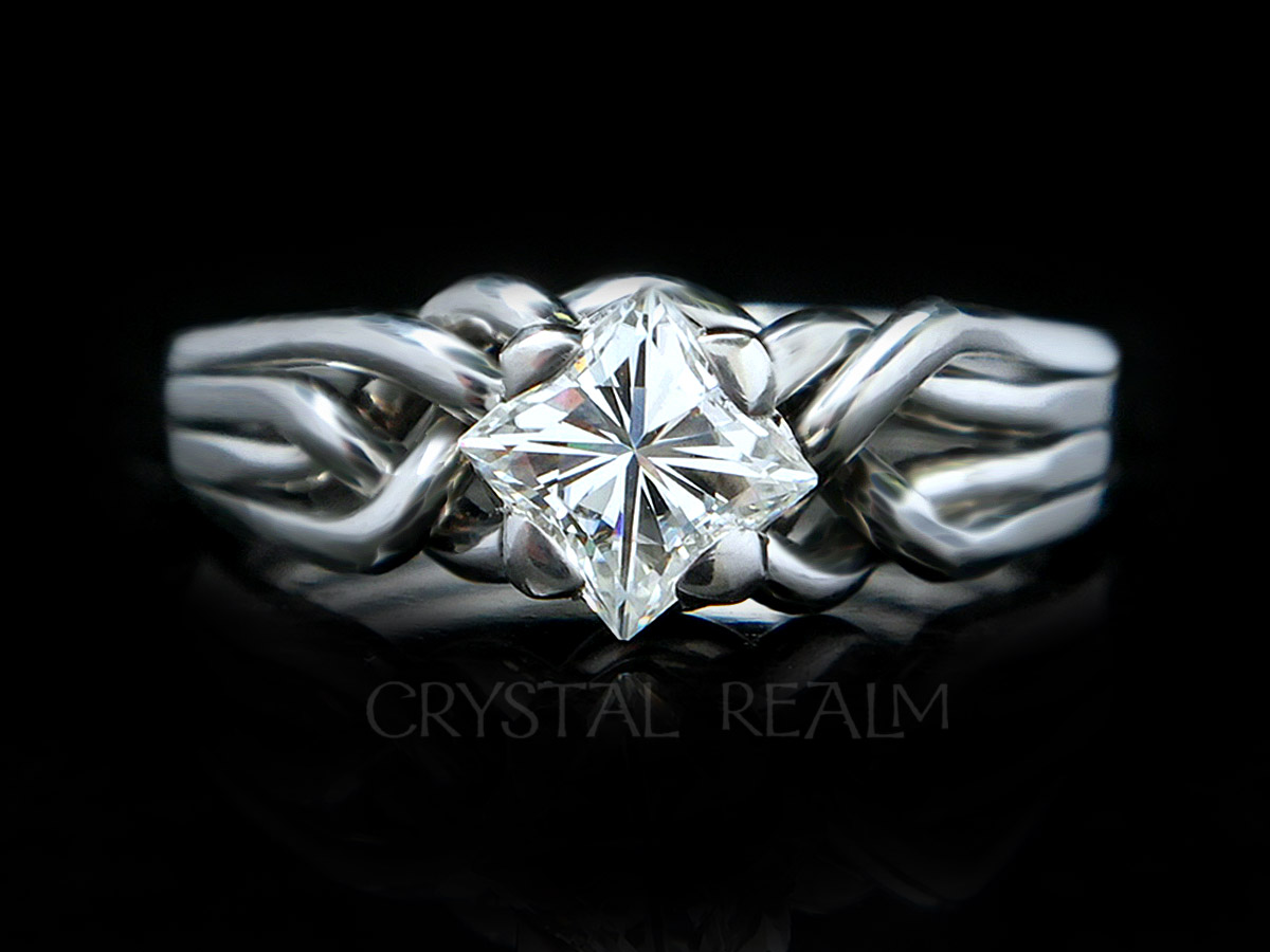 four band puzzle ring with princess diamond in palladium