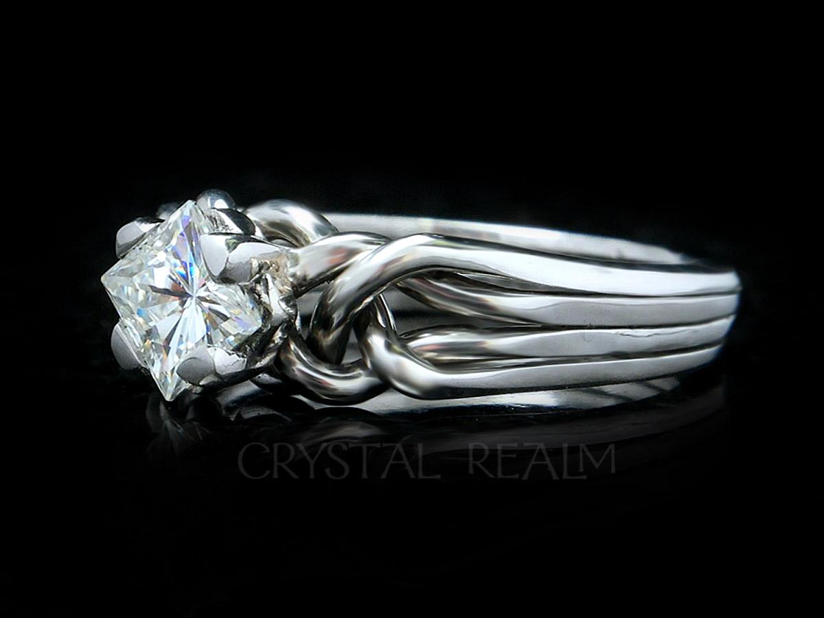 Princess cut diamond 4 piece puzzle ring in palladium