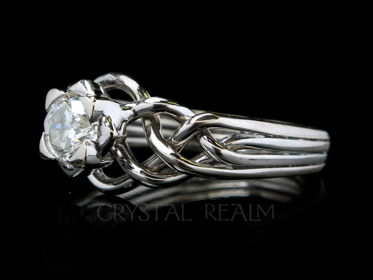 avalon four band puzzle ring with half-carat diamond in avalon setting