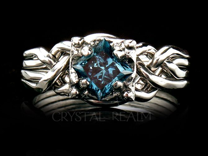 Celtic Engagement Ring: Guinevere 0.70CT Blue Diamond Puzzle Ring