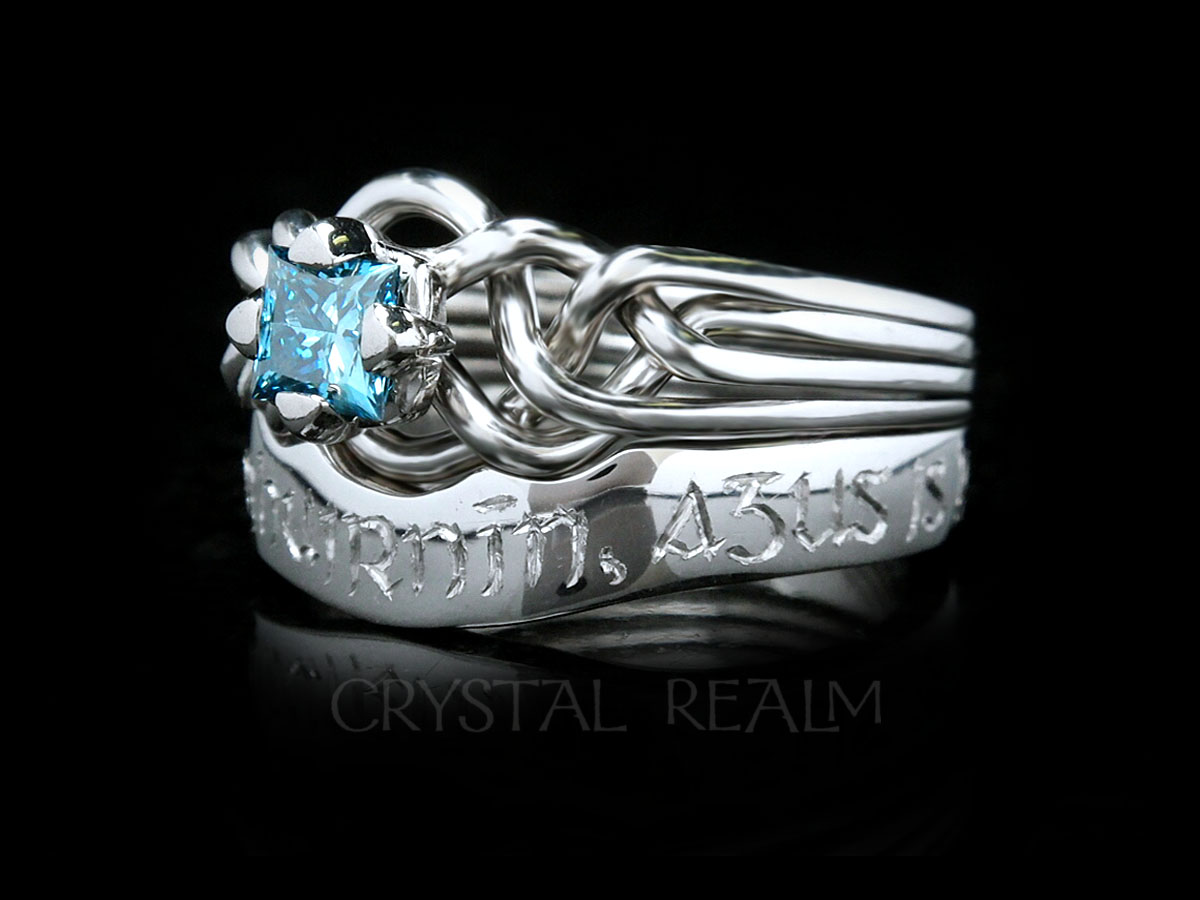 handmade blue diamond puzzle ring with hand engraved wedding band