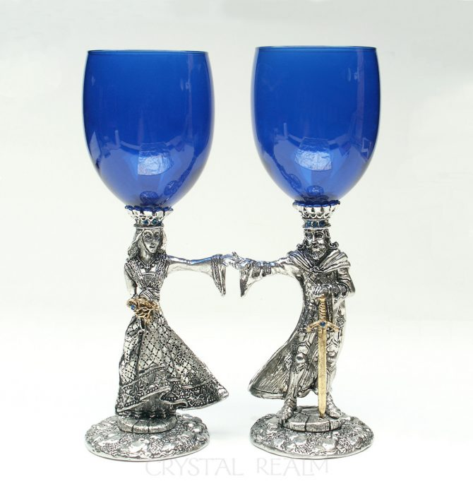 Arthur and Guinevere blue toasting glasses with Austrian crystal and 23k gold trim