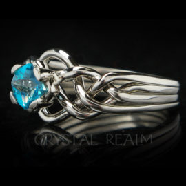 avalon four band puzzle ring with blue topaz and palladium