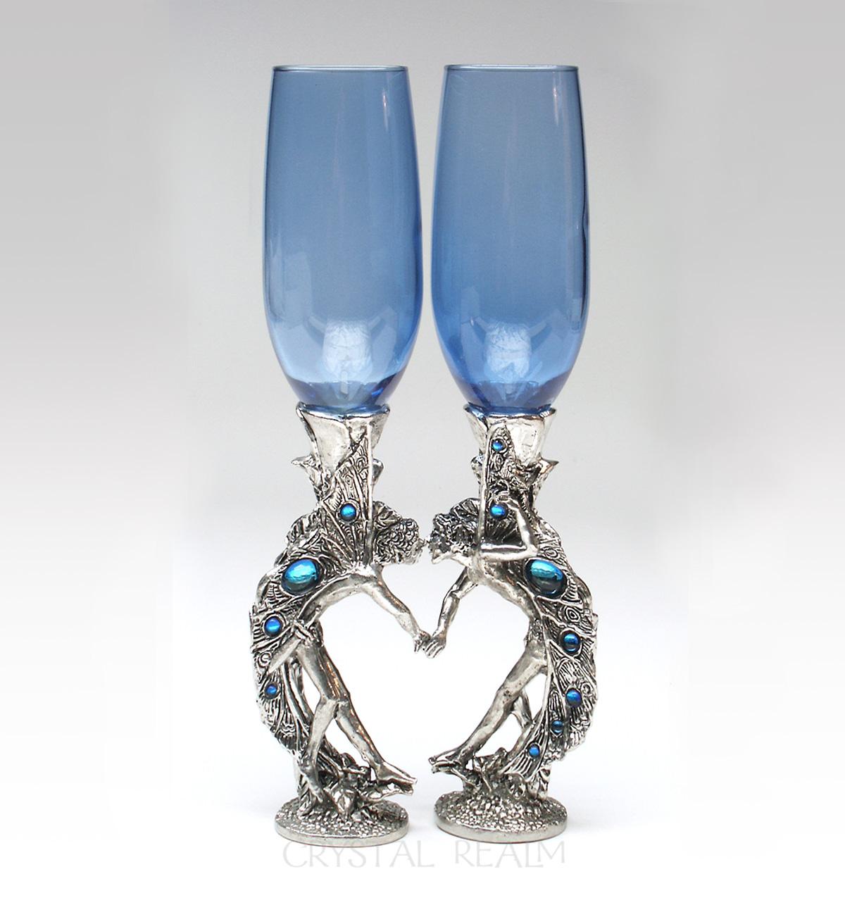 Boy-boy fairy heart toasting glasses in blue