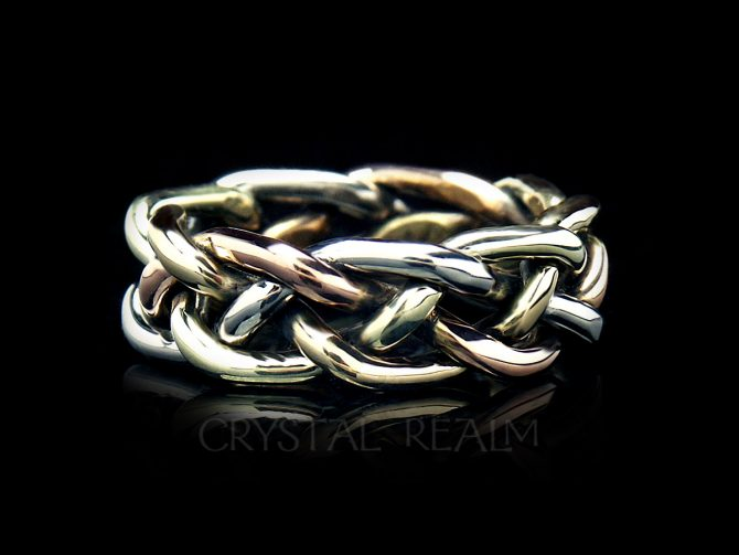 Braided wedding band in four colors 14k gold and medium-heavy weight