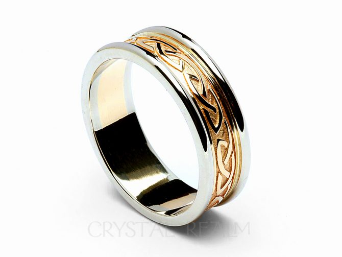Celtic Raised Knot Band, 14K Yellow Gold with 14K White Gold Trim