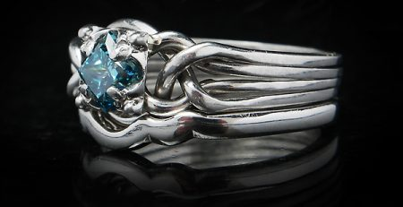 blue diamond four piece puzzle ring with narrow shadow wedding ring