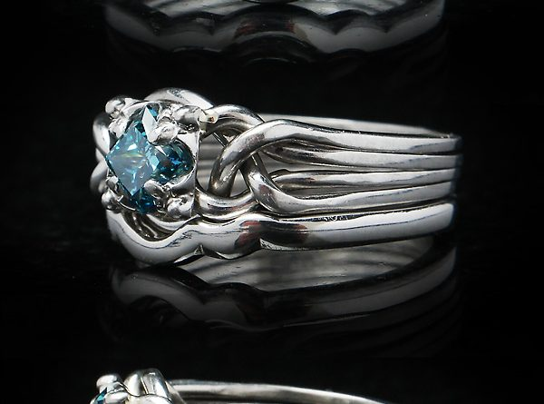 Blue Diamond Engagement Ring with Narrow Shadow Wedding Band