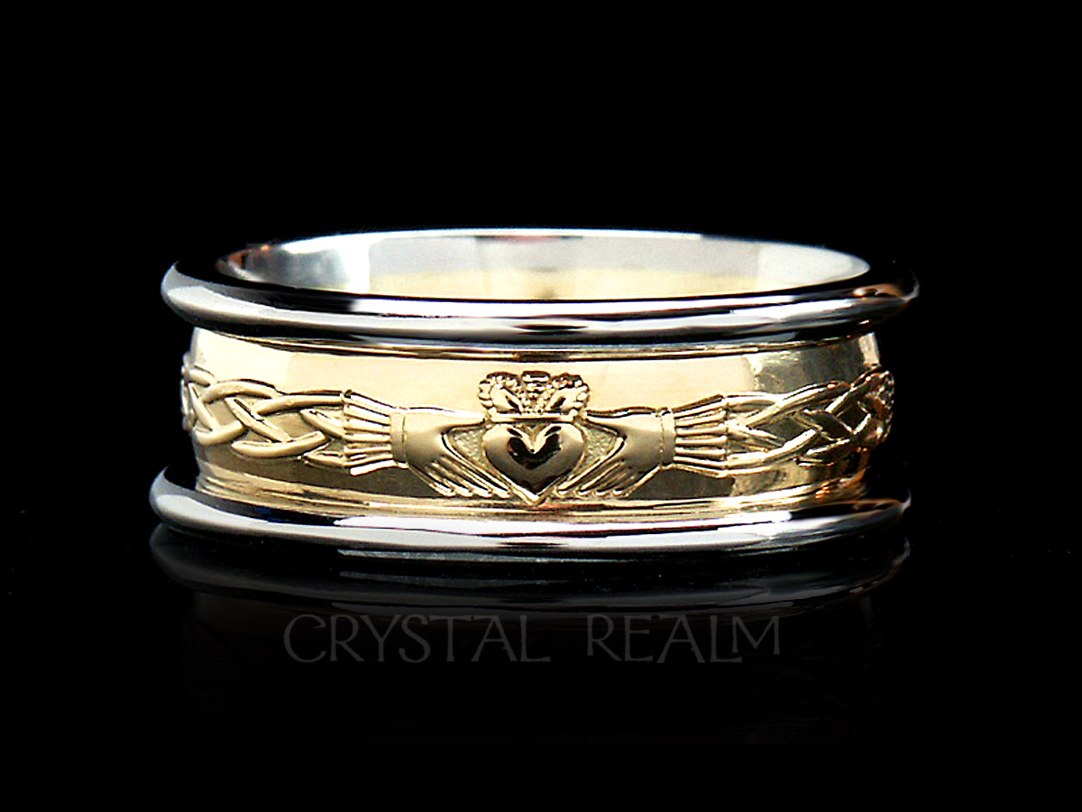 Claddagh knot band from Ireland in two tone gold
