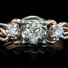 three-diamond puzzle engagement ring in 14k white gold and 14k rose gold