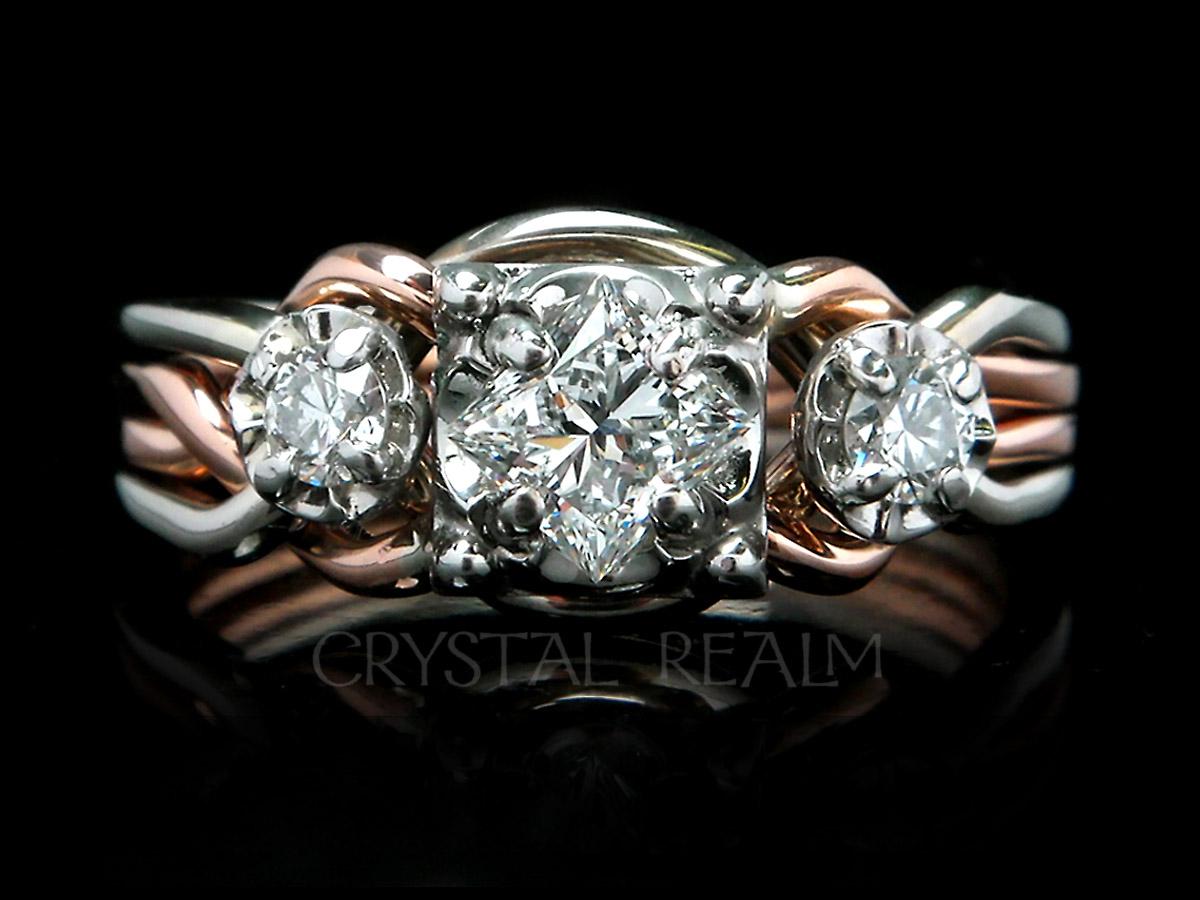 Guinevere three diamond puzzle ring