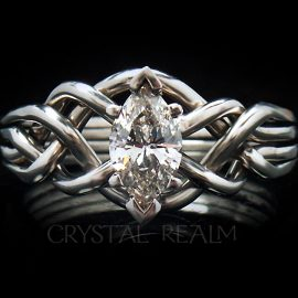 Marquise Diamond Puzzle Ring with Open Weave