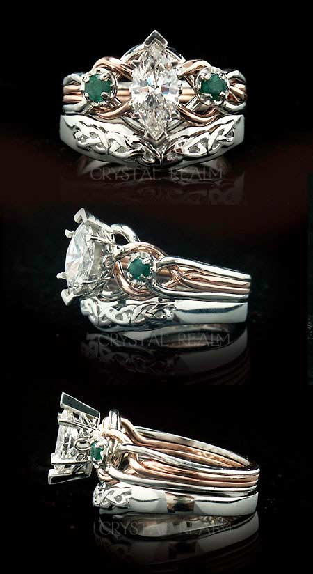 Marquise diamond and emerald engagement puzzle ring with Celtic shadow band