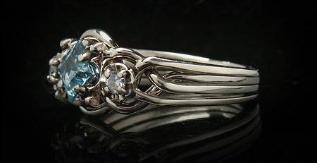 Genuine puzzle engagement ring - Guinevere Royale - with 4mm, step-cut, Swiss blue topaz and 5-point accent diamonds
