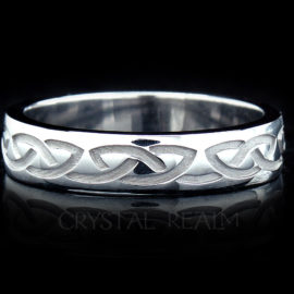 Wider recessed Celtic eternal knot wedding ring