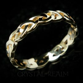 celtic wedding band with open eternity knot style in 14k yellow gold