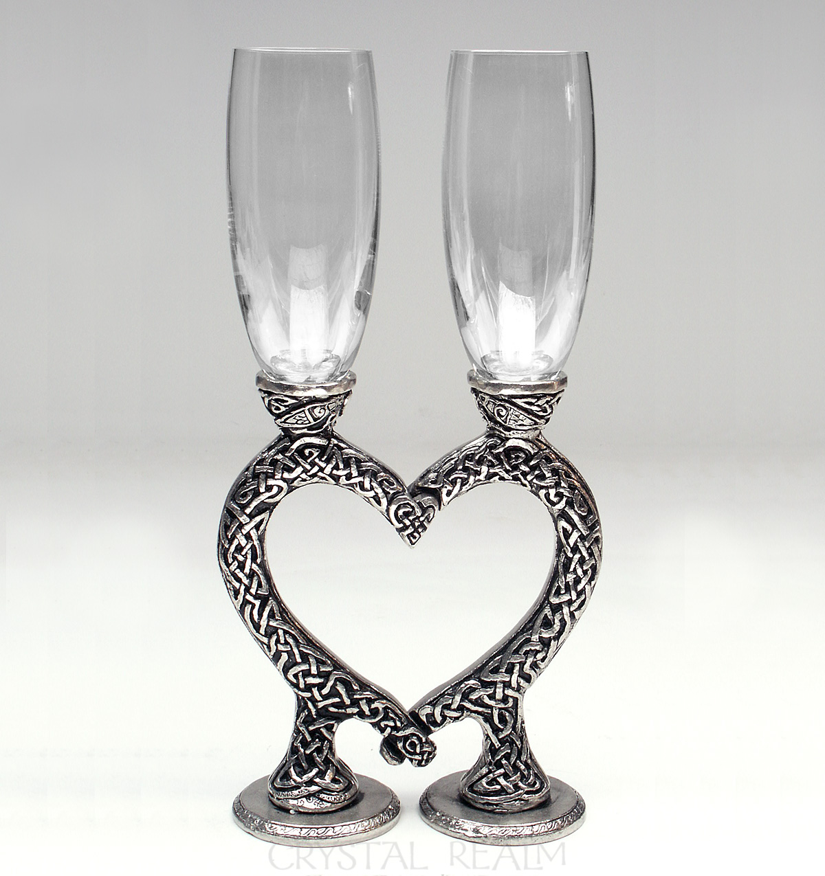 Celtic clear toasting glasses with knotwork heart stems