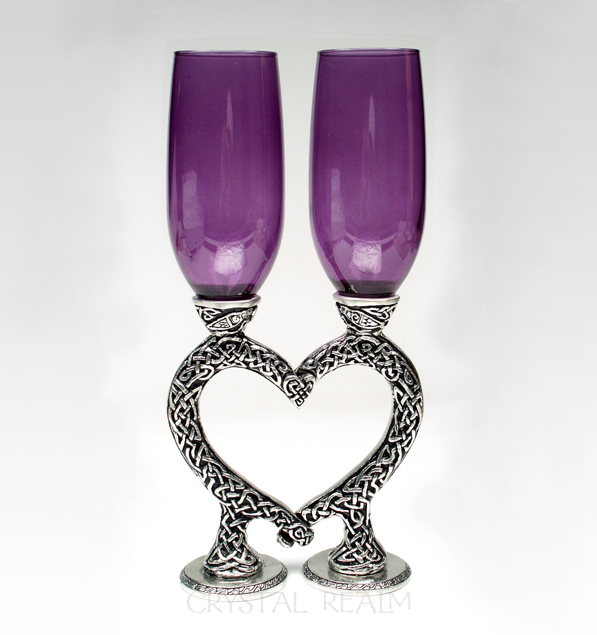 Celtic purple champagne glasses with knotwork heart stems