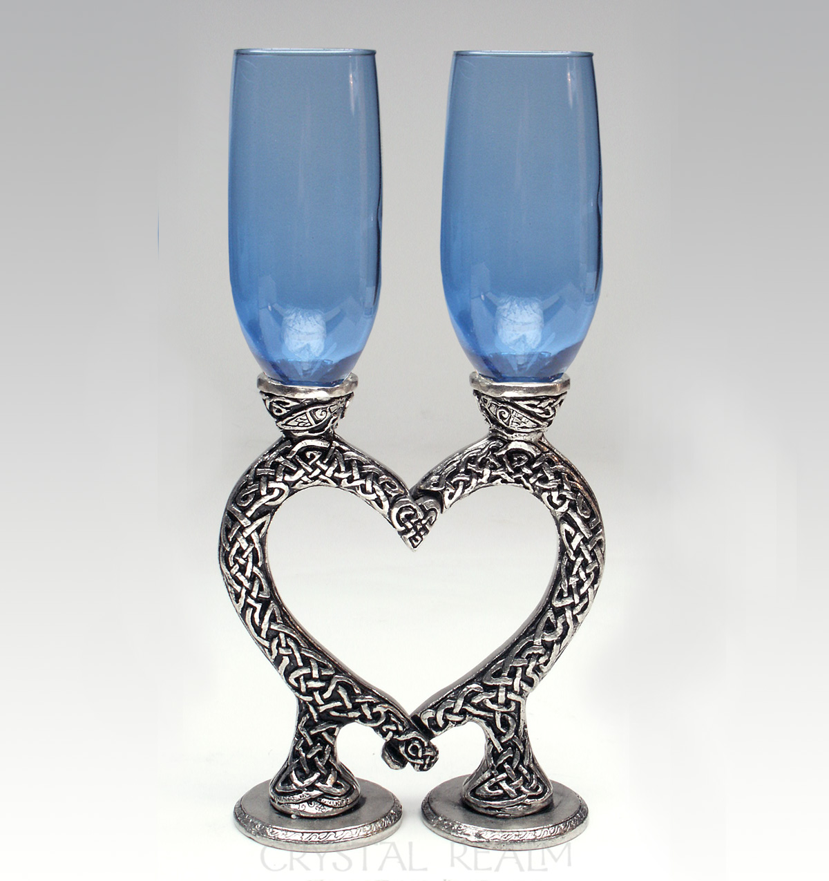 Sapphire blue toasting glasses with Celtic heart stems