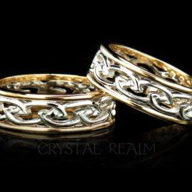 Ladies Celtic flowing knotwork wedding rings