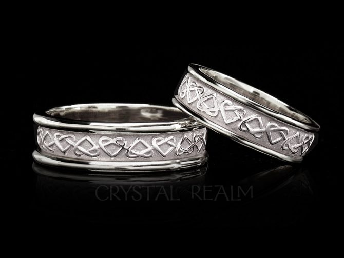 Celtic Eternal Love Knot Band, 14K White Gold with Trim