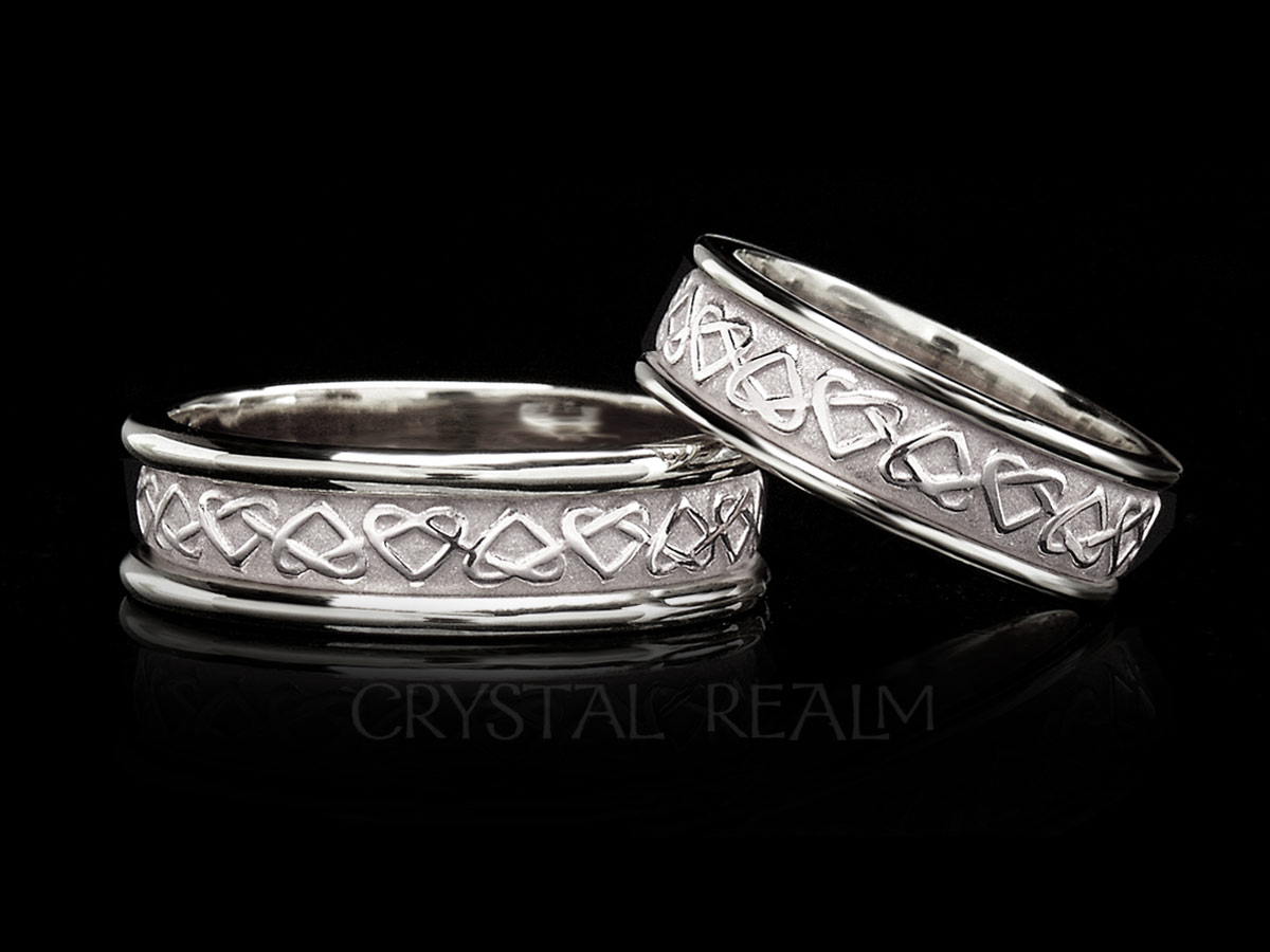 Celtic Eternal Love Knot Band 14k White Gold With Trim