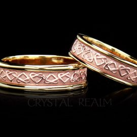 Celtic love knot wedding bands with a 14k rose gold center and 14k yellow gold trim