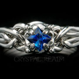 celtic puzzle engagement ring 5mm sapphire tight weave 1