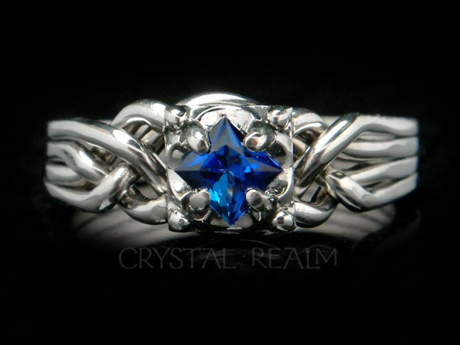 Guinevere Puzzle Ring with 5mm Lab-Created Blue Sapphire
