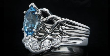 Celtic marquise aquamarine puzzle engagement ring with diamond shadow band