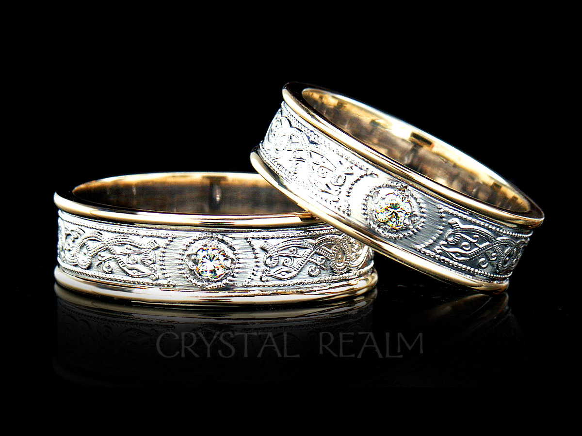 Celtic warrior wedding ring with diamond in white and yellow gold