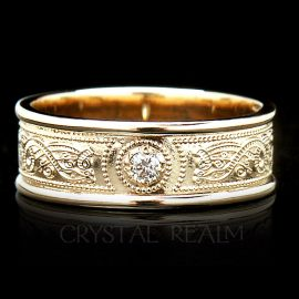 Irish Celtic shield band with ten-point diamond in 14k yellow gold