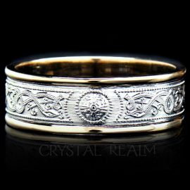 Irish Celtic shield wedding band in 14k yellow and white gold