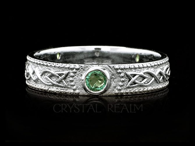 Women's Celtic Shield Band with 3 Emeralds, 14K White Gold