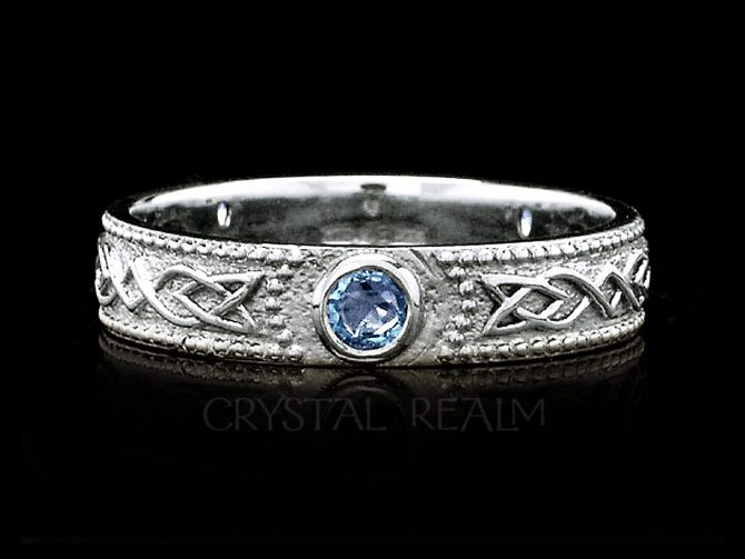 Women's Celtic Shield Band with 3 Sapphires, 14K White Gold