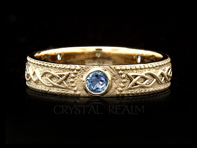 Women's Celtic Shield Band with 3 Sapphires, 14K Yellow Gold