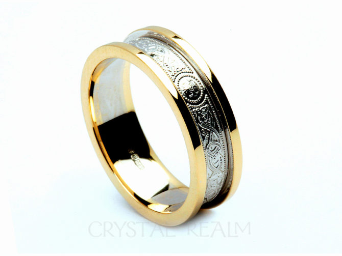 Celtic Shield Band, 14K White Gold with 14K Yellow Gold Block Trim