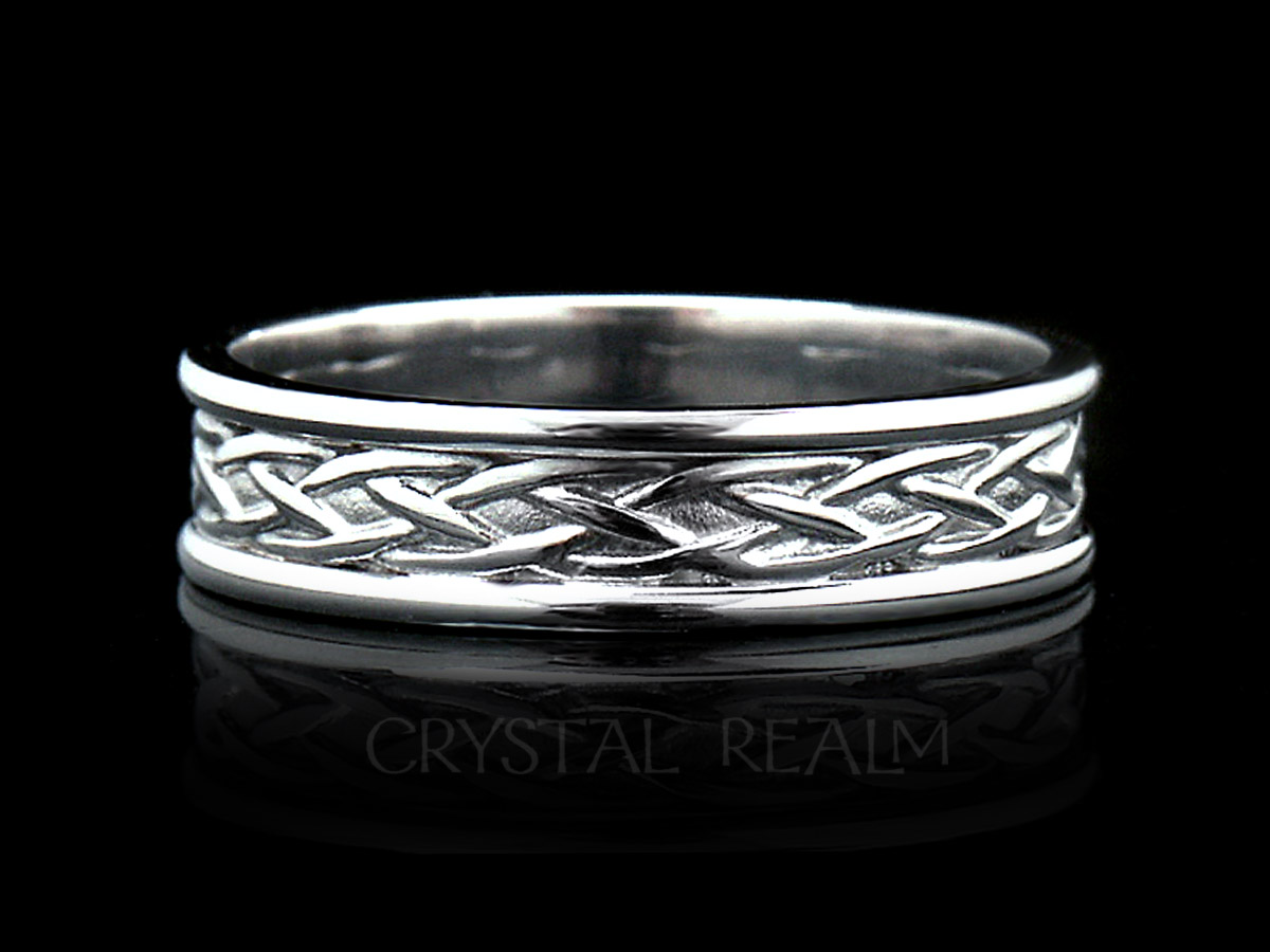 Celtic wedding band with Irish weave knot center and trim all in 14k white gold